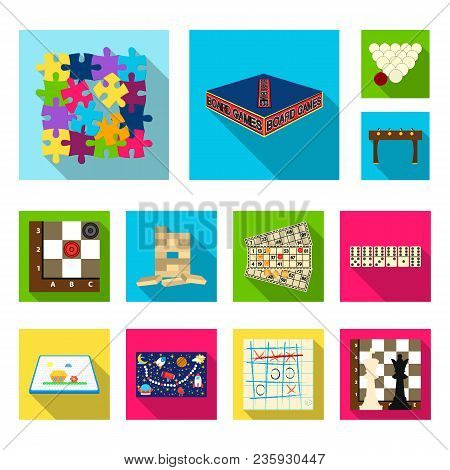 Board Game Flat Icons In Set Collection For Design. Game And Entertainment Vector Symbol Stock Illus