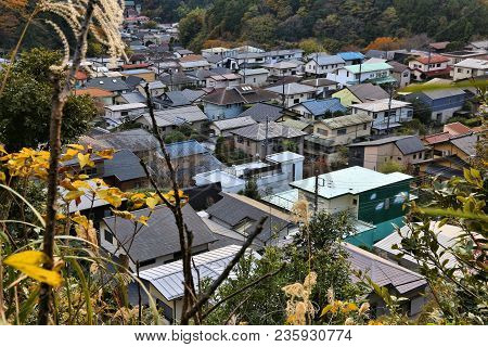Kamakura Town, Japan. Townscape View With Residential Architecture - Generic Japanese Suburb.