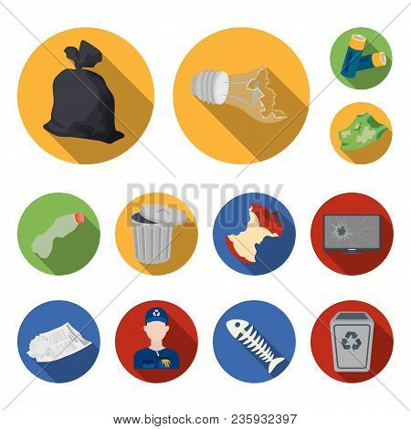 Garbage And Waste Flat Icons In Set Collection For Design. Cleaning Garbage Vector Symbol Stock  Ill