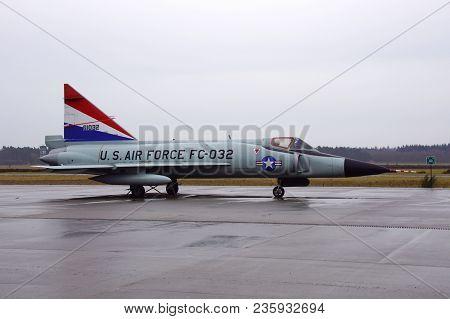 Soesterberg, The Netherlands - April 2, 2018: U.s. Air Force Jet Fighter Fc - 032 (f-102 Delta Dagge