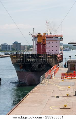Sault Ste. Marie, Michigan/usa - June 26th, 2013: A Large Freighter, Called The Zealand Beatrix, Pas