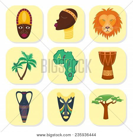 Africa Vector Icons Jungle Tribal And Ancient Safari African Traditional Travel Culture Illustration