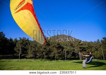 Man Is Trained On A Paragliding Flight
