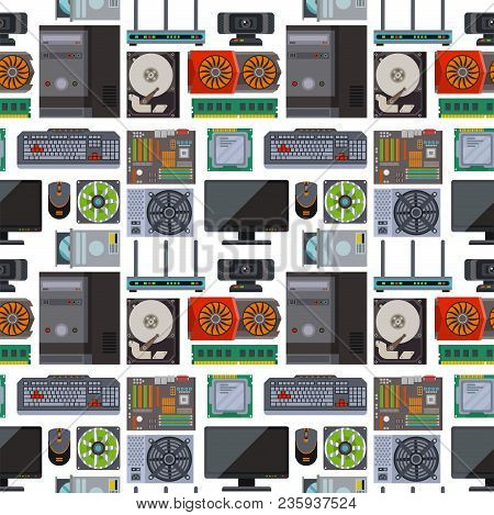 Computer Parts Network Component Accessories Various Electronics Devices Seamless Pattern Background