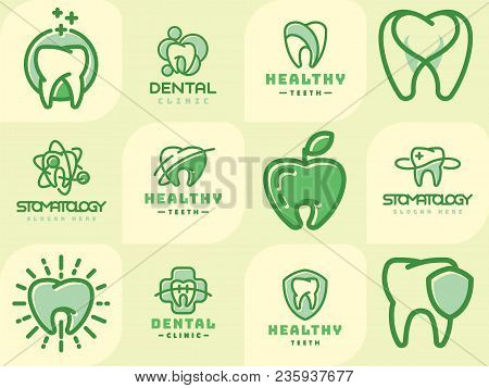 Vector Logo Dental Protection Template Illustration. Abstract Stomatology Mouth Blue Graphic Oral El