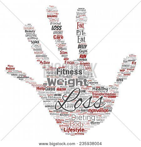 Conceptual weight loss healthy diet transformation hand print stamp word cloud isolated background. Collage of fitness motivation lifestyle, before and after workout slim body beauty concept