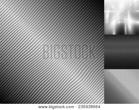 Metal Texture Pattern Background Vector Metallic Illustration Background Glossy Effect. Silver Shiny