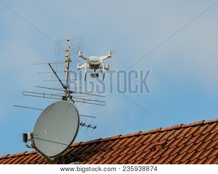 Drone Flies Illicitly Over A Residential Area