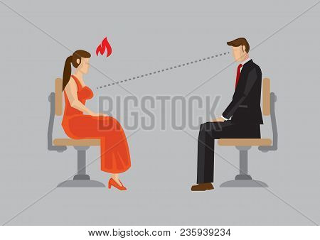 Woman Offended By Rude Man Sitting Across Her Staring At Her Boobs. Cartoon Vector Illustration Isol