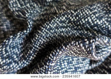 Draped Blue, Black And White Tweed Fabric