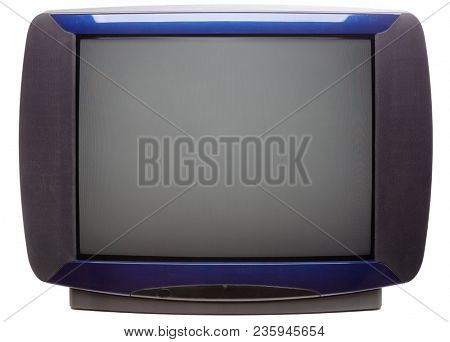 Vintage large screen stereo CRT television set with blue front isolated on white background