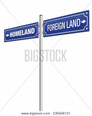 Homeland And Foreign Land, Written On Two Signposts. Symbol For Emigration, Flight, Expulsion, Banis
