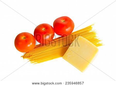 Spaghetti Pasta With Fresh Tomatoes And Parmesan Cheese Isolated On White Background