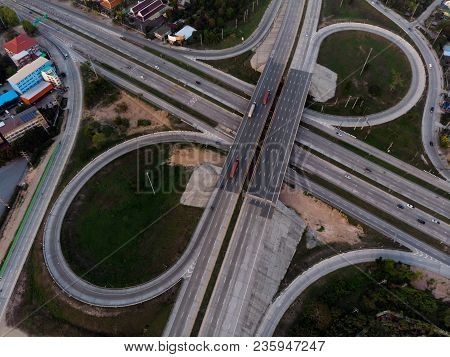Aerial Top View Of Road , Expressway Around Industrial Concept Transportation .