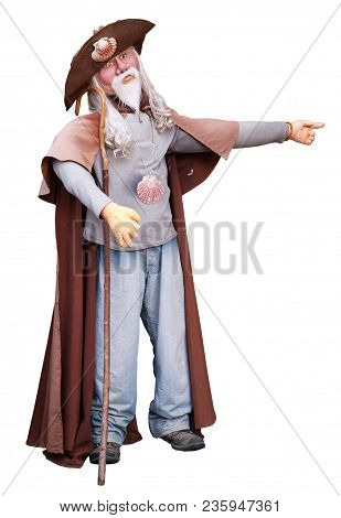 Typical Pilgrimn Puppet Of Way Of St. James Isolated On White Background