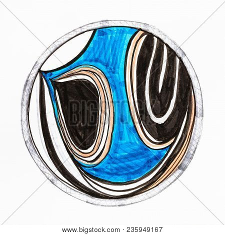 Hand Drawn Abstract Stylized Reflection In The Round Mirror By Felt-tip Pen On White Paper
