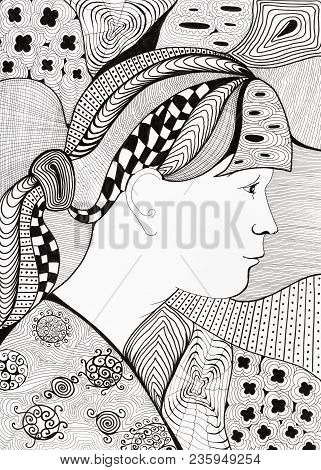 Styled Black And White Portrait Of Girl With Abstract Background Ornament By Felt-tip Pen On White P