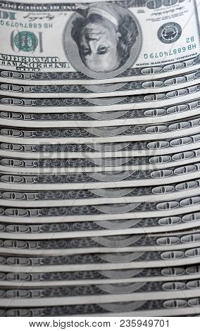 American Currency Us Dollars, One Hundred Dollar Bills Close-up. Confession Of Business And Money, Y