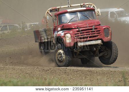 Tyumen, Russia - July 5, 2009: Championship Of Russia On Truck Autocross In The Silkin Ravine. Truck