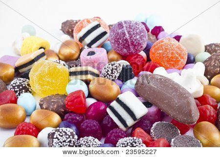 Many candy on white background