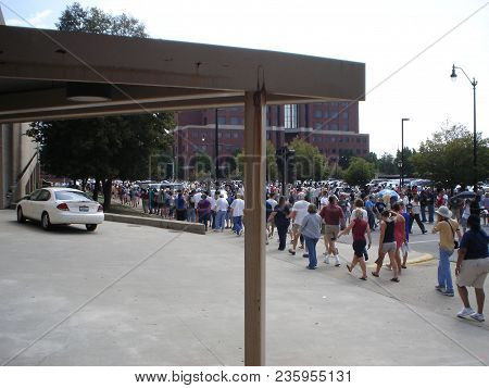People Waiting In Line To Attend A Campaign Rally Where Barack Obama Was Introducing Joe Biden As Hi