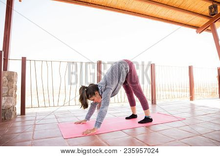 Healthy Young Woman Doing Downward Facing Dog Yoga Pose At Fitness Studio