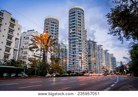 Tel Aviv, Israel. March 20, 2016. A View Of The Yoo Tel Aviv Complex Of Two Skyscrapers Completed In