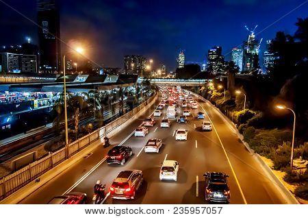 Tel Aviv, Israel. March 20, 2016. A Busy Ayalon Highway In Central Tel Aviv At Night.