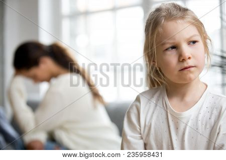 Sulky Angry Offended Child Girl Pouting Not Talking To Desperate Mother Tired Of Difficult Kid, Stub