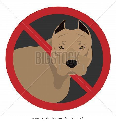 A Dog In A Prohibiting Sign On A White Background.