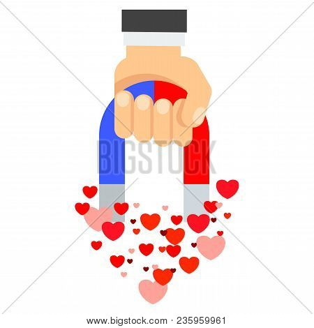 Attraction Of Hearts. Flat Vector Cartoon Illustration. Objects Isolated On White Background.
