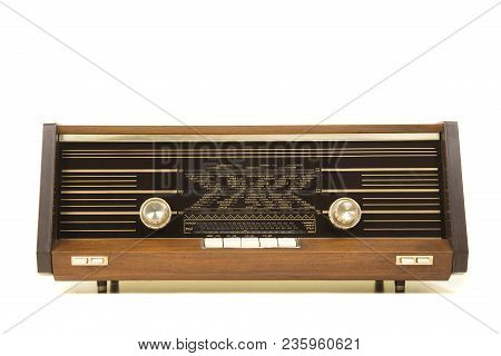 Old Antique Radio Seen From The Front Isolated On A White Background