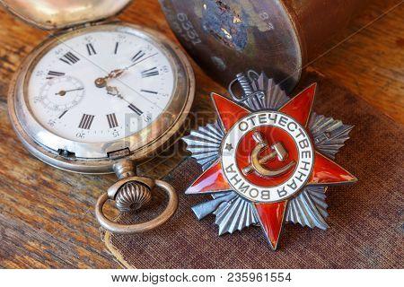 Soviet Order Of Patriotic War (inscription Patriotic War) With Vintage Pocket Chronometer And Empty