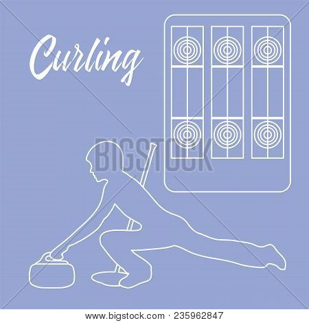 Curling Sport. Playground For Curling, Broom, Stone And Athlete Silhouette.