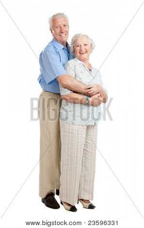 Satisfied smiling senior couple standing full length together isolated on white background