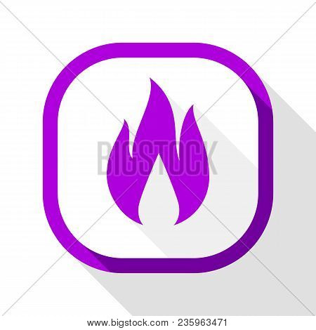 Fire Flame, Colored Icon With Shadow On A Rounded Square Button