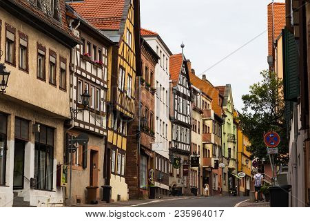 02.08.2017. Town Aschaffenburg,  Northwest Bavaria, Germany. Street With Colorful Houses Of The Old