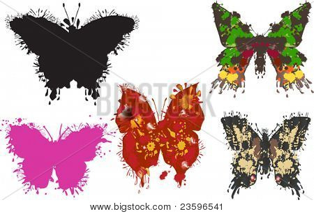 illustration with five painted butterflies on white background