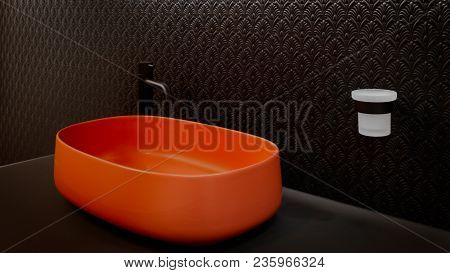 Black Bathroom Interior With Red Terracotta  Sink And Modern Techno Style Black Faucet
