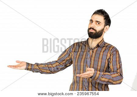 Young Happy Man Portrait Confident Businessman Showing A Presentation. Ideal For Banners, Registrati
