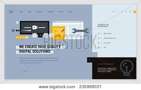 Creative Website Template Design. Vector Illustration Concept Of Web Page Design For Website And Mob