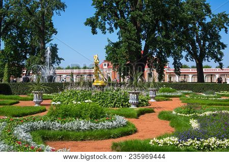 Saint- Petersburg, Russia - July 11, 2016: Monplaisir Palace In The Lower Garden Of Petrodvorets, Sa