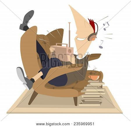 Young Man, Radio, Headphones, Armchair, Cup Of Coffee Or Tea Illustration. Smiling Young Man In Head