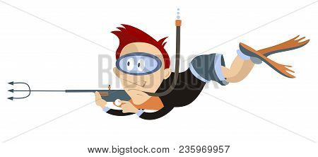 Diver Underwater Hunting Isolated Illustration. Diver In Underwater Mask And Flippers Hunting With U
