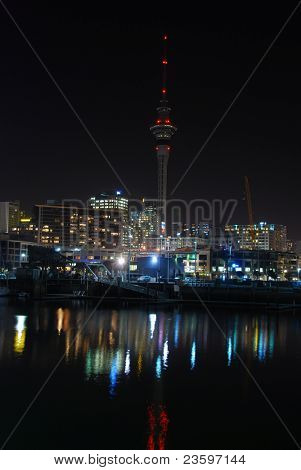 Auckland city in a calm night, New Zealand