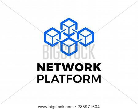 Data Base Or Hosting Server Company Logo. Vector Blockchain Technology Icon For Crypto Mining Bitcoi