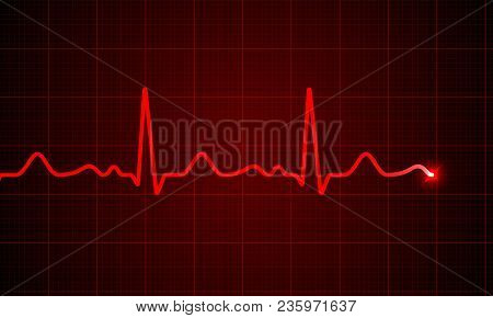 Heart Cardiogram Pulse Chart On Electrocardiogram Monitor. Vector Medical Ecg Or Ekg Red Heartbeat L