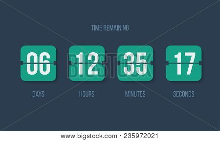 Flip Countdown Clock Counter Timer. Vector Time Remaining Count Down Flip Board With Scoreboard Of D