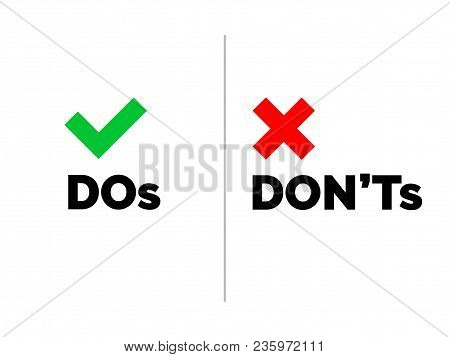4001858 Dos And Dont's Check Tick Mark And Red Cross Icons Isolated On Transparent Background. Vecto