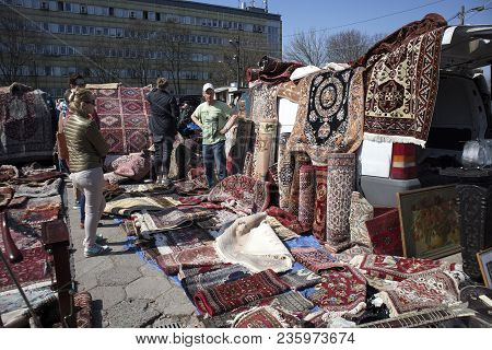 Warsaw, Poland - April 08, 2018 Street Flea Market Of Old Things And Antiques In The Old District